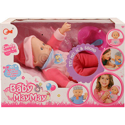 24Cm Soft Bodied Real Life Baby Doll + 4 Sounds Accessories Girls Toy Xmas Gift