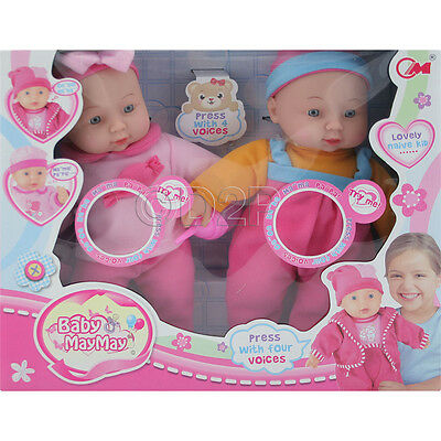 Set Of 2 30Cm Soft Body Real Life Doll Baby With Sounds Girls Toy Gift Xmas New