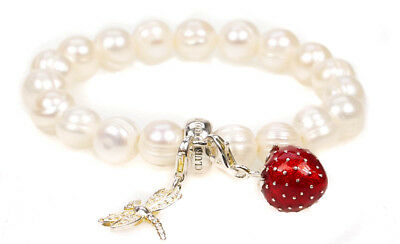 Thomas Sabo Pearl Bracelet With Strawberry & Dragonfly Charms New In Damaged Box