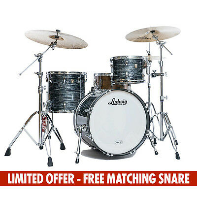 Ludwig Classic Maple MTS Kit + Free Matching Snare - Vintage Black Oyster