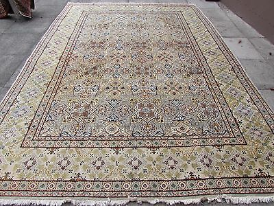 Old Traditional Hand Made Persian Oriental Blue Grey Wool Carpet Rug 366x261cm