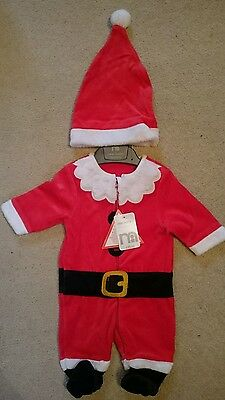 Mothercare Santa Claus Father Christmas Outfit Sleepsuit Babygrow New Baby BNWT