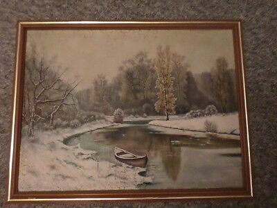 "Vintage Oil Painting on Canvas Unsigned Framed 24"" x 32"""