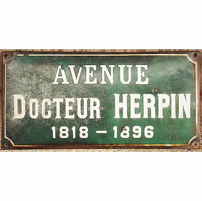 Old French enamel steel street road sign plaque Ave Herpin c1900 convex relief
