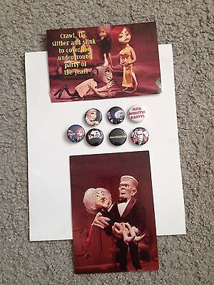MAD MONSTER PARTY Promo BUTTON LOT and postcards RANKIN BASS