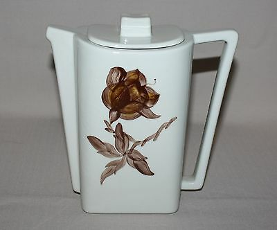 Orchard Ware Magnolia Coffee Pot Art Deco Brown Flower Square California