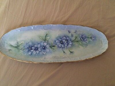 GEROLD PORZELLAN HAND PAINTED TRAY w/GOLD TRIM BAVARIA,MADE IN WEST GERMANY