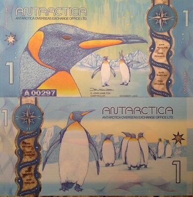 Antarctica 2015 1 Dollar Unc Polymer Beautiful Note King Penguins Usa Seller !!!