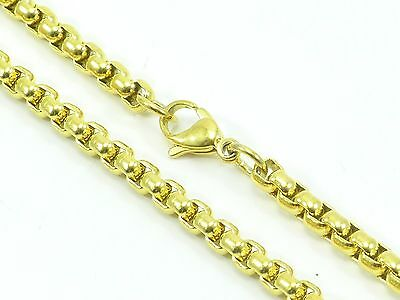 "Mens Womens Link Chain Rolo Necklace Stainless Steel 316L 30"" 4mm 36g Gold-Tone"