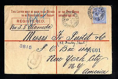 13968-NEW SOUTH WALES-REGISTERED COVER SYDNEY to NEW YORK (usa)1897.BRITISH.