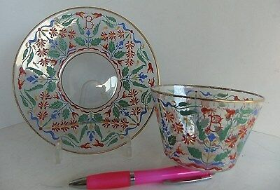 LOBMEYR MOSER ENAMELED ART GLASS FINGER BOWL WITH UNDERPLATE both with 'B'
