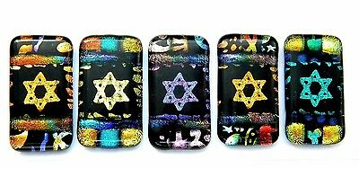 STAR OF DAVID colorful Lot 5pcs DICHROIC FUSED GLASS (X15) scrapbook CAB MOSAIC