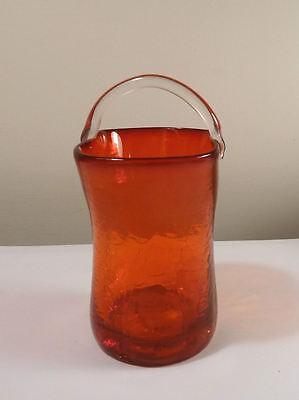 Crackle Glass Mini Basket RUBY 1960s Handcrafted