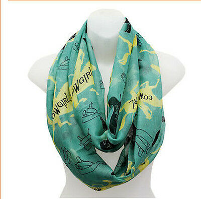 Horse & Western Accessories Gifts Ladies Cowgirl Infinity Scarf Turquoise Yellow