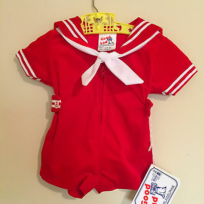 Red Velvet Sailor Romper, Vintage Boys Sailor Suit, New Old Stock with Tags 3mo