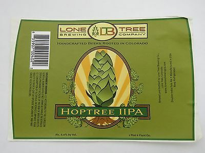 Beer Label STICKER ~*~ LONE TREE Brewing Co Hoptree IIPA ~<>~ Rooted in COLORADO