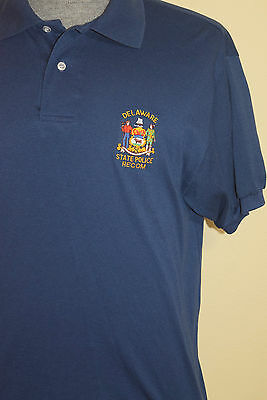 Delaware State Police Department Recom L Polo Golf Shirt Large Blue