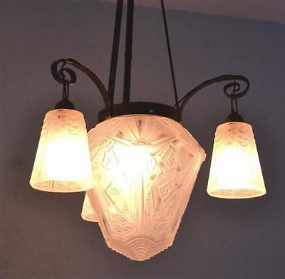 Muller Freres Luneville Art Deco Chandelier (Antique French Hanging Lamp)