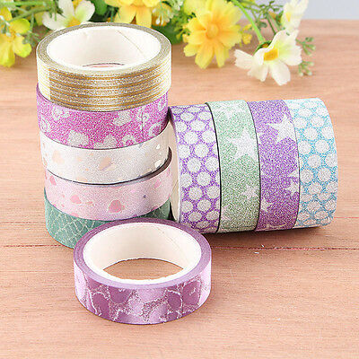 10PCS DIY Self Adhesive Glitter Washi Masking Tape Sticker Craft Decor 3mx15mm