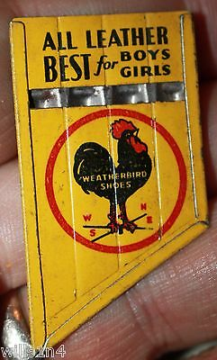 Vintage unused WEATHERBIRD SHOES TIN LITHOGRAPH WHISTLE with ROOSTER