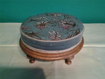 Antique Victorian walnut circular  footstool stool hand worked beadwork  top