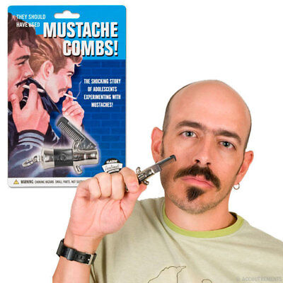Switchblade Mustache Comb - Punk Rockabilly Novelty Gift Beard