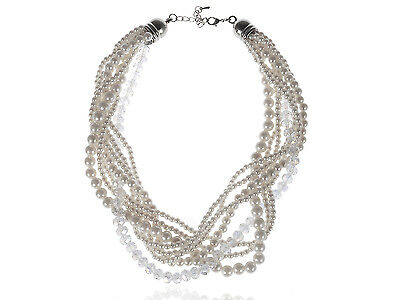 Lady Strands Wrap Synthetic Faux Pearl Beaded Bead White Ribbon Necklace