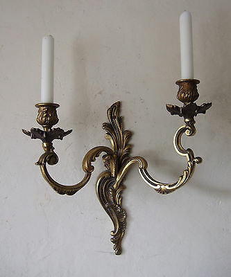 Large Antique French Gilt Bronze Louis Xv1 2 Branch  Candle Sconce