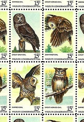 1978 - AMERICAN OWLS - #1760-63 Full Mint -MNH- Sheet of 50 Postage Stamps