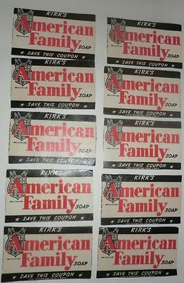 Vtg Lot of 10 Kirk's American Family Soap Coupon Labels 1930/40's Advertising