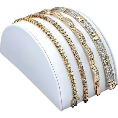 White Faux Leather Bracelet Half Moon Ramp Stand