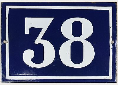 Large old blue French house number 38 door gate plate plaque enamel metal sign
