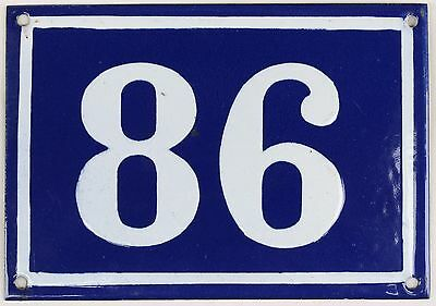 Large old blue French house number 86 door gate plate plaque enamel metal sign