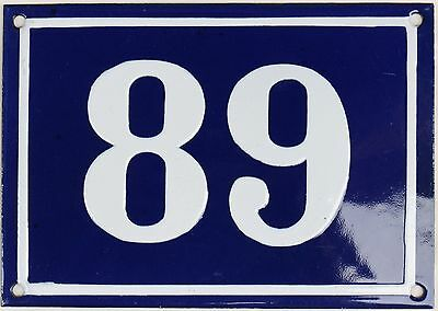 Large old blue French house number 89 door gate plate plaque enamel metal sign