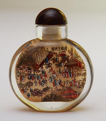 LATE 19th Century Chinese Glass Snuff Bottle_Inside Painted_Courtyard + Bridge