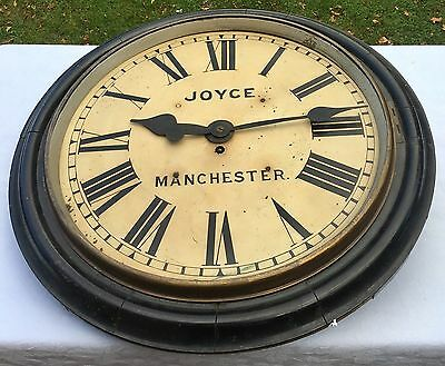 "Very Large Fusee Railway/school Clock 18"" Dial/ 23"" Surround joyce / manchester"