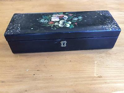 Victorian Lacquered Decorative Painted Box With Abalone Inlay