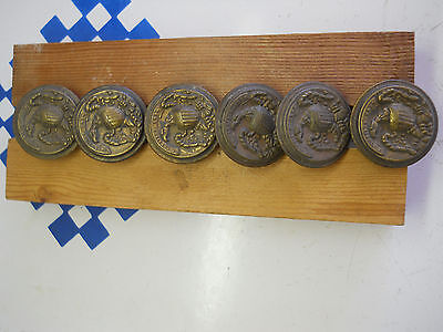 6 old AMERICAN EAGLE PRESS BRASS CHEST PULLS