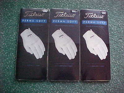 3 New Titleist Mens Perma Soft Golf Gloves Extra Large Xl,  Left Handed Golfer
