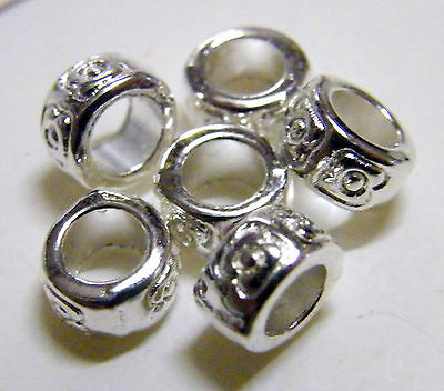 100pcs 7x4mm Metal Alloy Rondelle Spacer Beads - Bright Silver