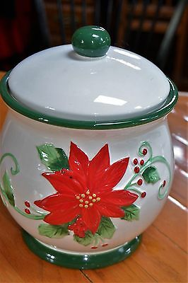 Large Poinsettia  Christmas Holiday Canister Ceramic 2 piece cookie jar