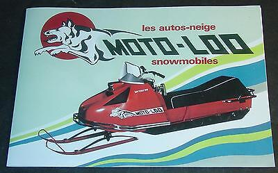 Vintage Moto-Loo Snowmobile Sales Brochure English & French Copy