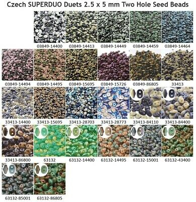 10 gram or 24 gram Czech SUPERDUO Duets 2.5 x 5 mm Two Hole Seed Beads 1