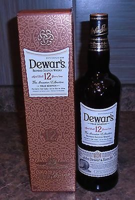Rare Collectible Dewars 12 Year Old Scotch Bottle With Original Box