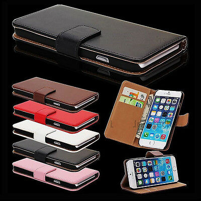 Flip Real Leather Cover Wallet Case For Apple iPhone SE 4s 5s + Screen Protector