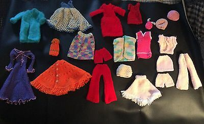 21 Pieces Vintage  Barbie Doll Knitted And Crochet Clothes