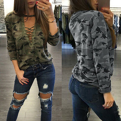 Fashion Womens Camouflage Lace Up Tops Shirt Ladies Casual Loose T-shirt Blouse