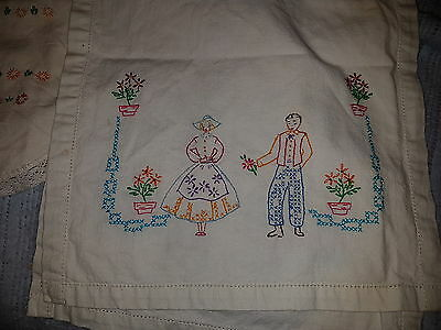 """Vintage Fabric Table Runner Embroidery Dutch Couple 13 x 38"""""""