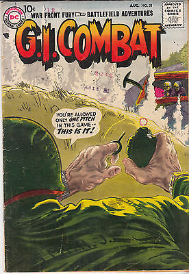 G.I. COMBAT #51 (DC, August 1957) VG/F- *** Hard to Find *** eighth DC issue ***