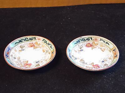 2 Vintage Hand Painted Floral Nippon Noritake M Wreath Butter Pat Dishes